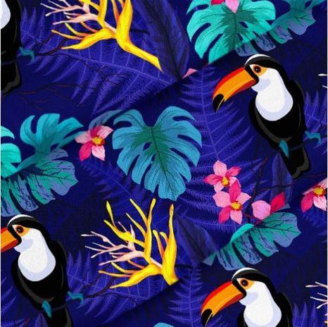 Modrá s Tukanom dizajnová prémiová bavlna