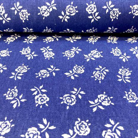 Modrá s ružičkami modrotlač česká bavlna