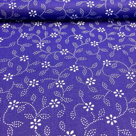 Modrotlač s jemnými kvetinkami bavlnená látka