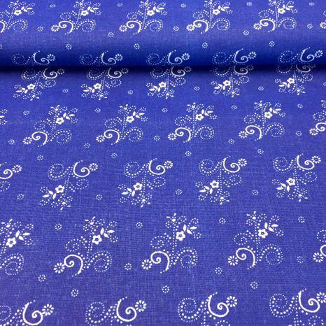 Modrotlač s kvetinkami v pasoch bavlnená látka