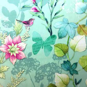 Motýlia záhrada na tyrkysovej francúzska bavlna