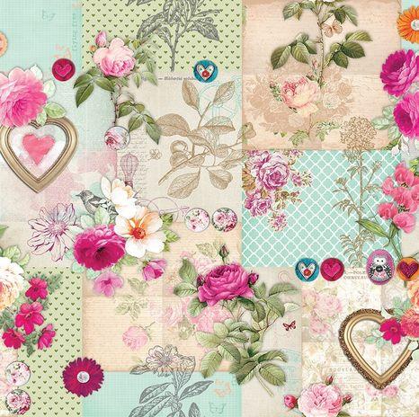 Nežné ružičky v tyrkysovej dekoračná látka