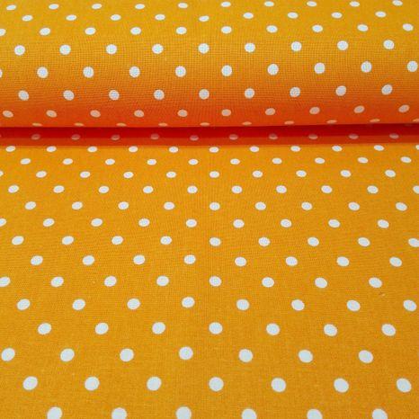 Oranžová s bodkami 5mm česká bavlna
