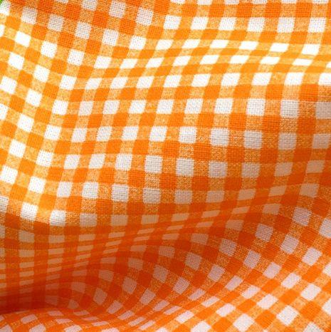 Oranžové káro 4mm česká bavlna