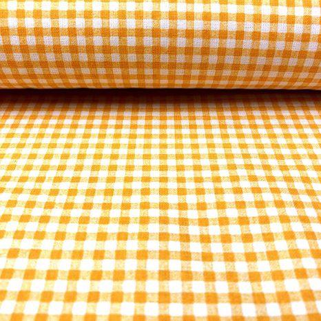 Oranžové pastelové káro 4mm jarná česká bavlna