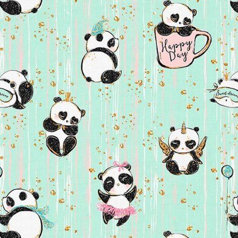 Pandy v mentolovej dizajnová prémiová bavlna
