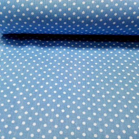 Pastelová modrá s bodkami 2mm bavlnená látka