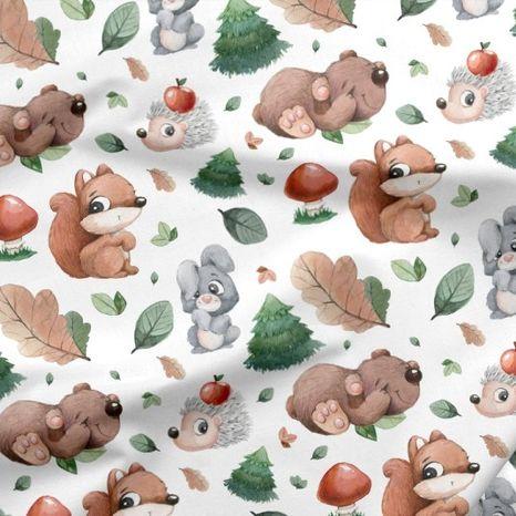 Zvieratká z lesa dizajnová prémiová bavlna