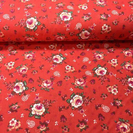 Ružičky na korálovo ružovej bavlnená látka