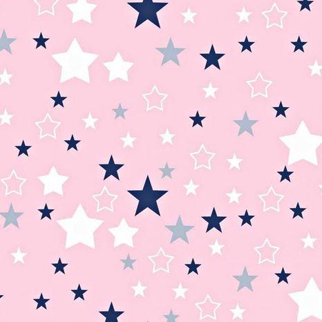 Ružová s modrými hviezdami bavlnená látka