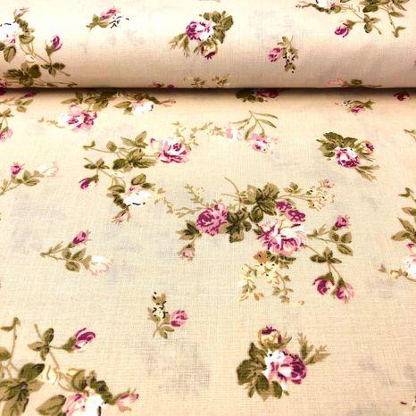 Béžová s vintage kvetinkami bavlnená látka
