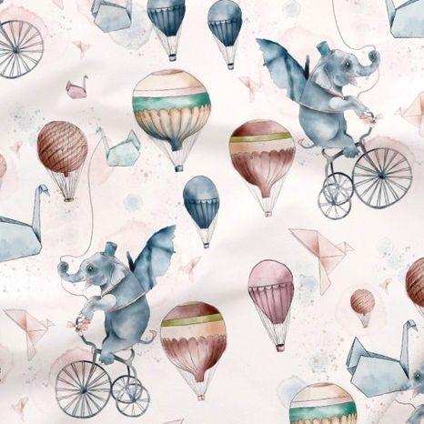 Slony a balóny dizajnová prémiová bavlna