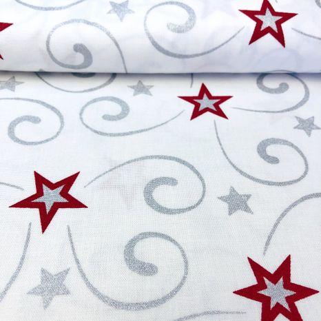Strieborná s bordovými hviezdami vianočná metráž