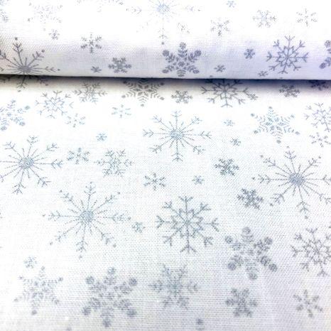 Strieborná so snehovými vločkami 1 vianočná metráž
