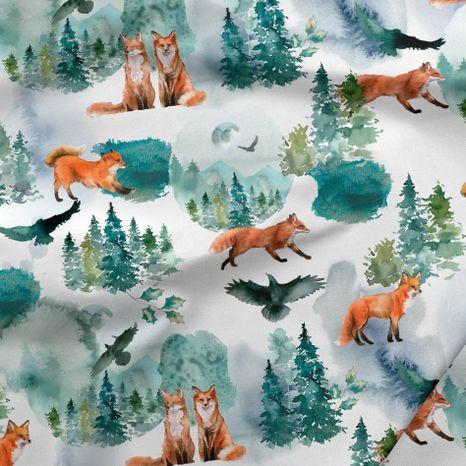 Líšky v zime dizajnová prémiová bavlna