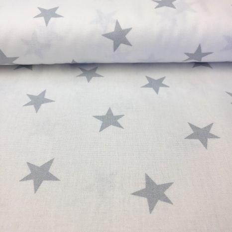 Smotanová so svetlo šedými hviezdami 25mm česká bavlna