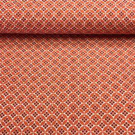 Tehlová s drobným vzorom česká bavlna