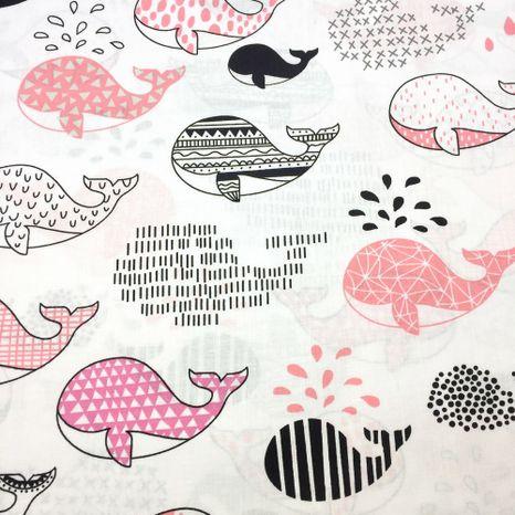 Veľryby v ružovej detská bavlnená látka