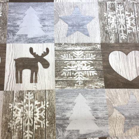 Vianočný patchwork hnedá dekoračná látka