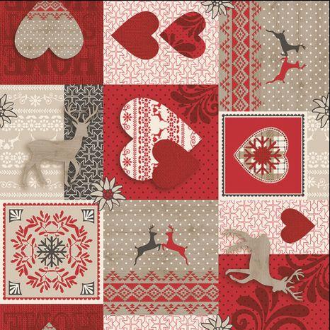 Vianočný patchwork s ornamentom dekoračná látka