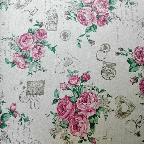 Vintage ruže so známkami dekoračná látka