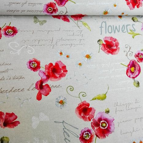 Vlčí mak s nápismi Flowers dekoračná látka