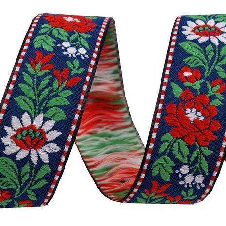 Vzorovka krojová stuha modrá kvety 25mm