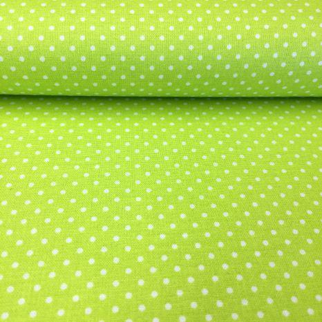 Zelená s bielymi bodkami 1,5mm česká bavlna