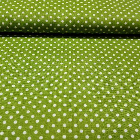 Zelená s bodkami 2mm bavlnená látka