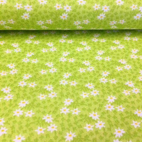 Zelená s malými bielo žltými kvietkami česká bavlna