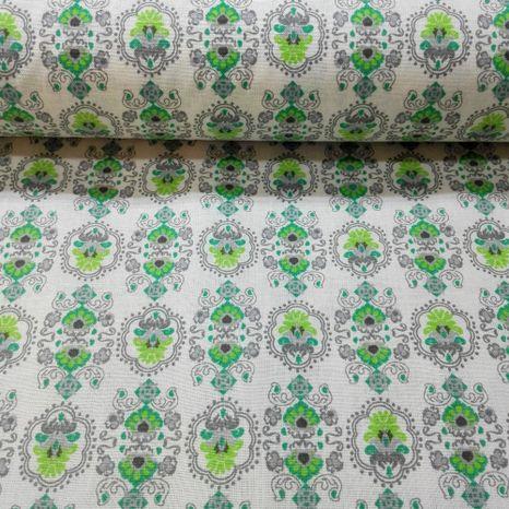 Zeleno šedý ornament francúzska látka