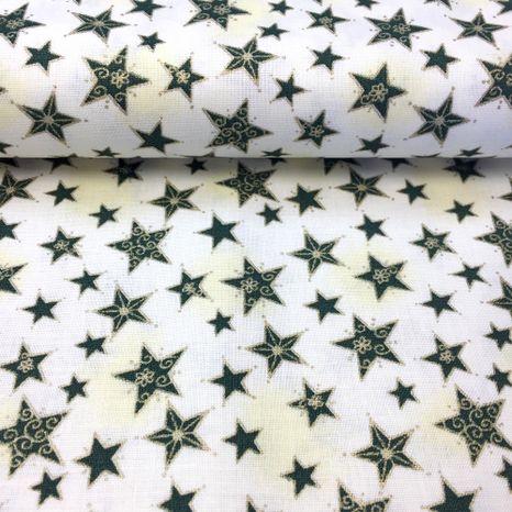 Zeleno zlaté hviezdy zlatotlač vianočná látka