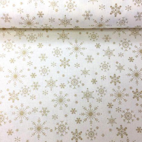 Zlaté snehové vločky zlatotlač vianočná metráž