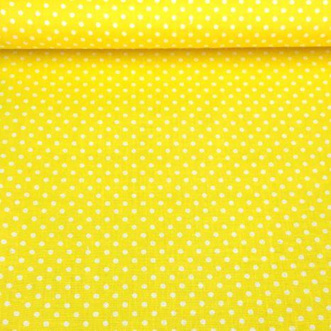 Žltá citrónová s bodkami 2mm bavlnená látka
