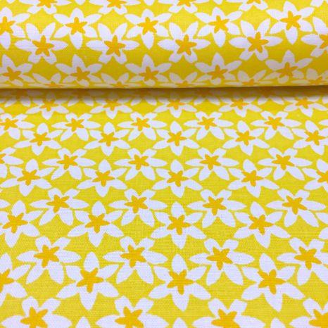 Žltá s bielo oranžovými kvietkami česká bavlna