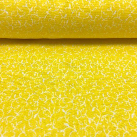 Žltá s drobnými ornamentmi česká bavlna