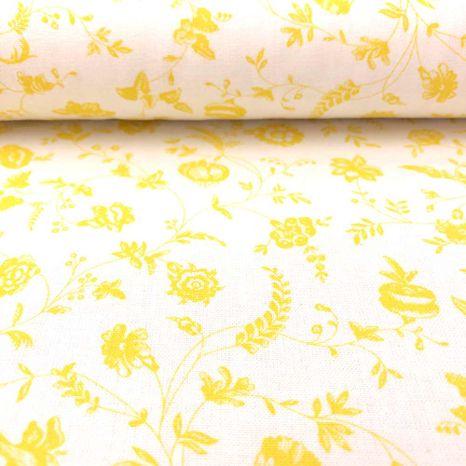 Žlté pastelové lúčne kvety jarná česká bavlna