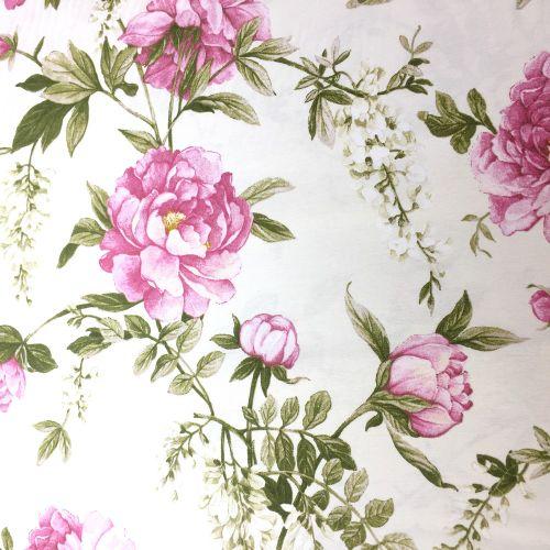 Smotanová s ružovými ružami dekoračná látka