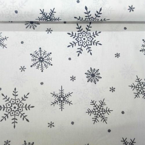 Smotanová so šedými snehovými vločkami česká bavlna