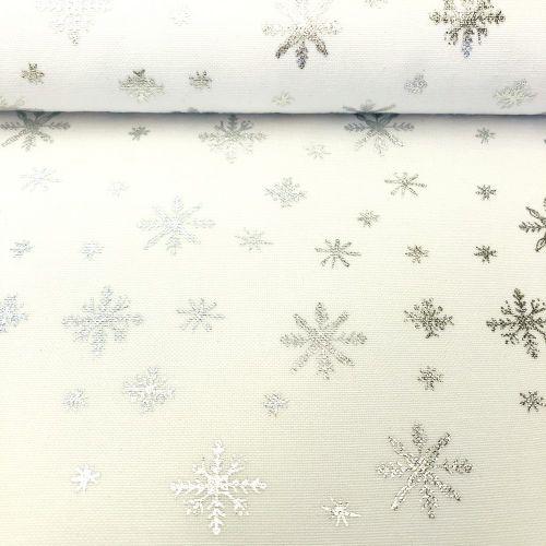 Strieborná s vločkami dekoračná vianočná metráž