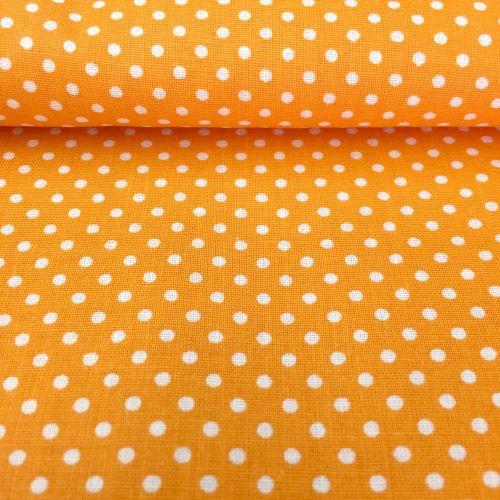 Oranžová s bodkami 2mm bavlnená látka