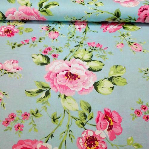 Tyrkysová s ružami francúzska bavlna