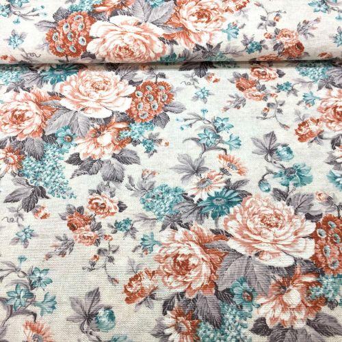 Vintage kvety v tyrkysovej dekoračná látka