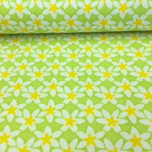 Zelená s bielo žltými kvietkami česká bavlna