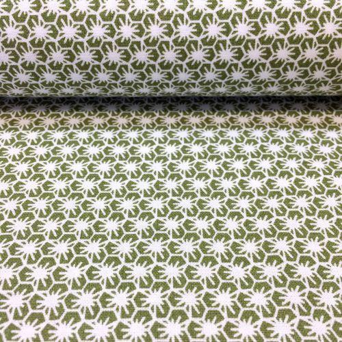 Zelená s drobnými kvetmi česká bavlna