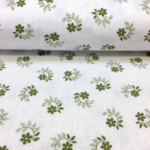 Smotanová so zelenými tradičnými kvietkami česká bavlna