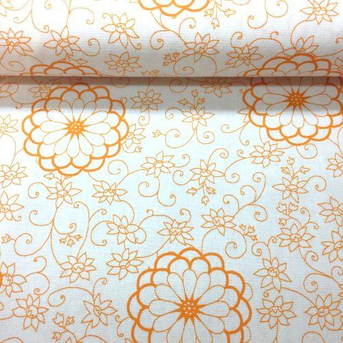 Oranžové kvety s ornamentom česká bavlna