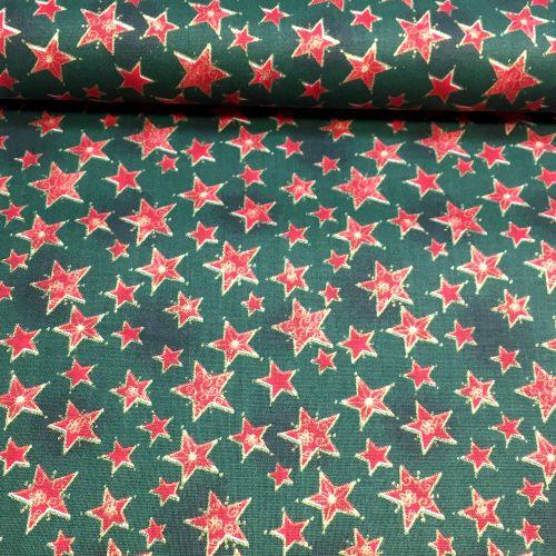 Zeleno červené hviezdy zlatotlač vianočná látka
