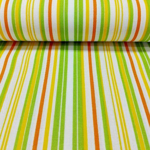 Zeleno oranžovo žltý pásik česká bavlna