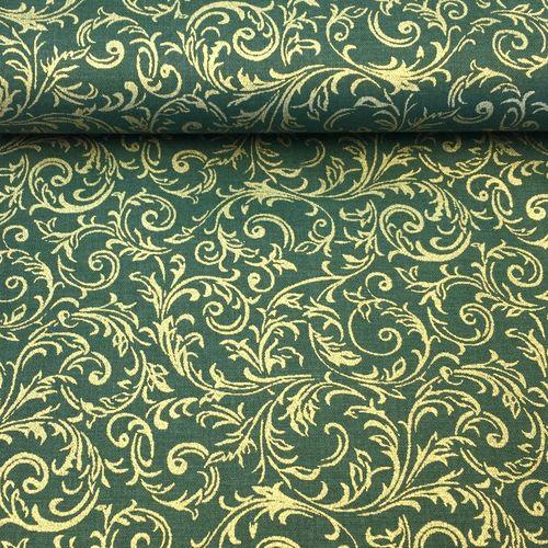Zeleno zlaté ornamenty zlatotlač vianočná látka